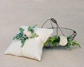 Flower Girl Basket and Pillow Set | Wire Basket | Linen Pillow| Eucalyptus Greenery | Ivory Flowers | Flower Girl | Ring Bearer | Wedding