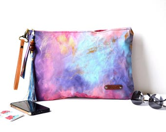 XL Wristlet Clutch, Hand Painted Zippered Ethnic Clutch, Boho Style Canvas Clutch, Hand Painted Unique Gift For Her, Valentines Day Gift