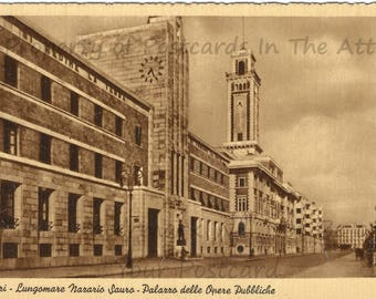 Bari Seacrest National Park Sauro palace of public works Italy Vintage Italian Postcard