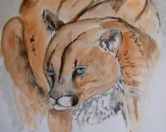 Puma  dessin à l'encre, animaux, fauves, ,nature, art, original signé