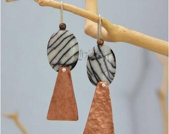 Boucles d'oreilles pendantes en cuivre en jaspe