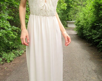 SPRING SALE! vanilla fields - organic bamboo paired with ivory vintage floral lace bohemian hippie festival beach wedding maxi dress medium