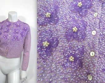 Amazing Vintage 50s Beaded Cashmere Cardigan in Lavender
