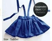 18M 2T 3T Easy Suspender Skirt Sewing Pattern PDF Digital Download for Toddler Girls   Vintage High Waist Skirt Dress Beginner Project