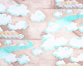 1960's Cloud Bicycles Fabric in Polyester or Rayon . Seafoam and Brown . French Cyclists . Daydream fabric