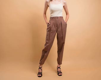 High-Waist Tapered Ankle Pants / Tailored Wool Pants / Minimalist Trousers / 80s Striped Trousers Δ size: S