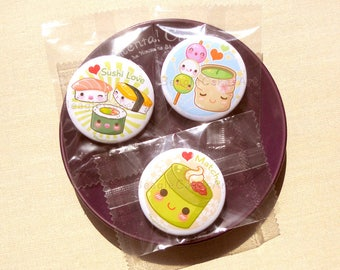 "Japanese Desserts 1.75"" Pinback Button Set of 3.  Kawaii Badges. Geek Badges. Valentine Gift. Gift for Friends. Kawaii Button. Gift for Her."