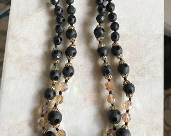 Vintage Two Strand Necklace Aurora Borealis
