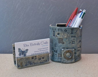 Blue cyberpunk pen pot and business card holder set, Ceramic tealight holder, brush pot, small stoneware vase