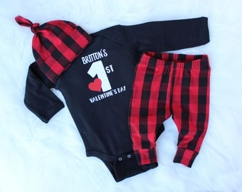 Valentines Outfit Baby Boy - Baby Boy Valentines Day Outfit - Buffalo Plaid Baby - 1st Valentines Day Outfit Boy - Boy Valentine Outfit