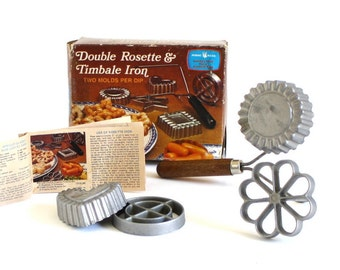 Nordic Ware Rosette Timbale Iron Waffle Shell Maker Dip Form Set Flower Heart Circle