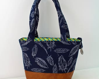 Lulu Medium Tote  Bag - Navy Feathers with PU Leather - READY to SHIP   Purse Shoulder Straps 3 pockets Handbag Washable