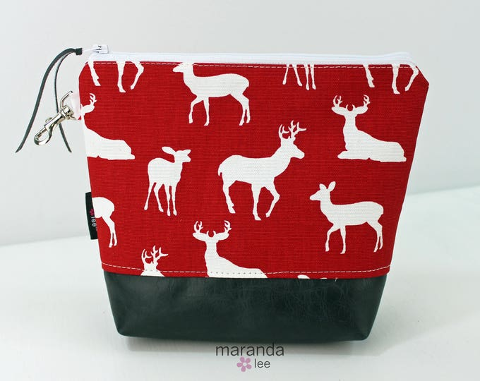 AVA Clutch Medium - Red Deer with Gray PU Leather READY to SHIp