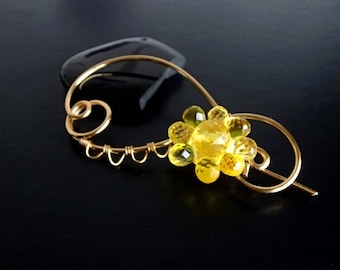 Yellow Flower Shawl Pin, Scarf Pin, Brooch pin, Gold pin, Wire pin, Artisan Jewelry