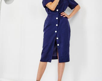 80s Navy Button Down Shift Dress