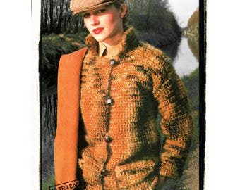 Instant Download PDF Easy Crochet Pattern to make a Womens Short Coat Jacket Patch Pockets No Shaping 3 sizes 32 to 36 inch bust
