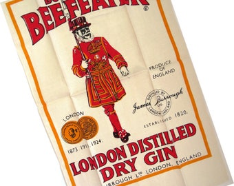 Vintage Beefeater Dry Gin Dish Towel, James Burrough London Distilled Gin Towel, Collectible, Barware Mancave, Art Work, Gift