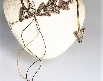 Triangle necklace Brown necklace Modern necklace Geometric necklace Boho Versatile Wire sculpture Art necklace Birthday gift women Autumn