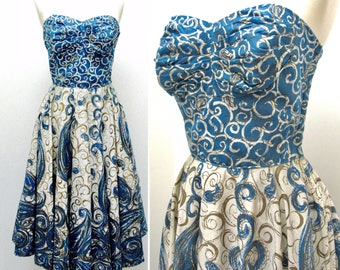 Vintage 1950s Elinor Gay Swirl Print Bombshell Dress