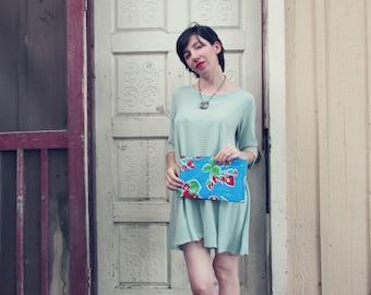 "Blue Strawberries Oilcloth Bag, clutch or makeup bag, regular size 10.5"" by 6.25"""