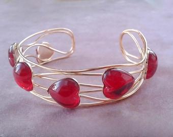 Lucite Hearts Cuff Bracelet Red Gold