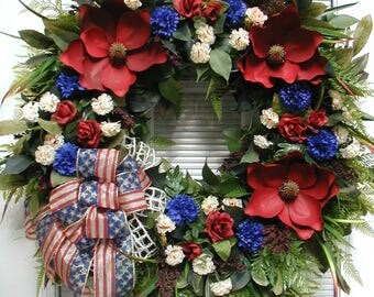 Large Patriotic Wreath July 4th Decoration Summer Front Door Wreath Luxe Fireplace Artificial Floral Decor Grapevine Red Off White Blue