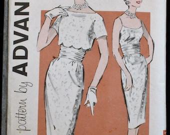 Advance 9328 1950s 50s Scalloped Bolero Sheath Dress Spaghetti Strap Wiggle Dress Vintage Sewing Pattern Size 12 Bust 32