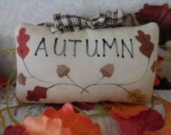 Primitive AUTUMN Pillow Tuck Sign Hand Painted Fall Leaves & Acorns Folk Art
