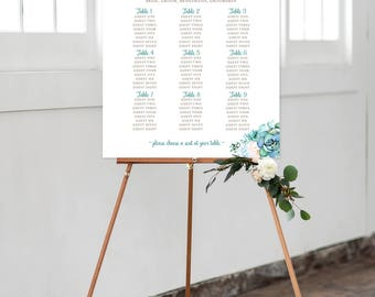 Seating Chart on Foam Core - Mint & Teal Garden (Style 0029)