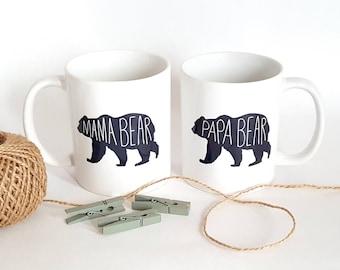 Mama Bear Mugs - Papa Bear Mugs - Mama and Papa Mugs - Parent Mugs - New Mom Gift - New Dad Gift - Gift for Couple - Valentine's Day Gift