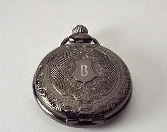 Personalized Black Pocket Watch Custom Engraved Fancy Crest Quartz  - Hand Engraved