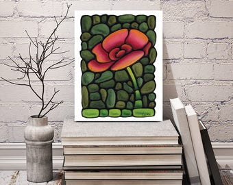 Poppy Flower Print - FREE Shipping - Art Nouveau Artwork - Stained-Glass Art - Poppy Poster - Red Floral Wall Hanging - Room Decor