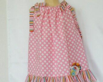 Girls' Pink Pillowcase Dress - Pink Polka Dot Dress - Toddler Easy On Dress - Girls Dress Size 1 to 3 - Girls Spring and Summer Sundress