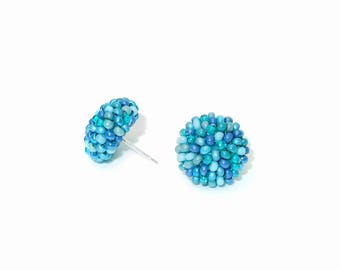 Aquamarine beads mix studs earrings -15 mm/ charming earring with CLIP on or SILVER post - for pierced or non piercer earlobe