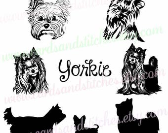 Yorkie SVG - Yorkie Silhouettes - Dog SVG - Digital Cutting File - Graphic Design - Cricut Cut - Instant Download - Svg, Dxf, Jpg, Eps, Png