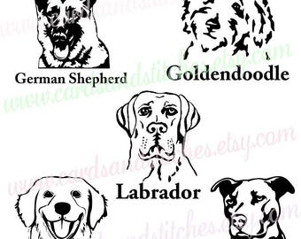 Dogs SVG - Goldendoodle - Labrador - Dog Breeds SVG - Digital Cutting File - Cricut Cut - Instant Download - Svg, Dxf, Jpg, Eps, Png
