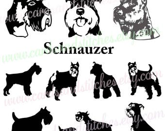 Schnauzer SVG - Schnauzer Silhouette - Digital Cutting File - Graphic Design - Cricut Cut - Instant Download - Svg, Dxf, Jpg, Eps, Png