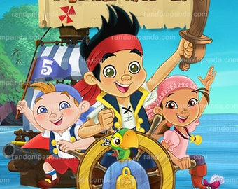 Jake and the Neverland Pirates Thank you Card, Boy Pirate Party Thank you Note