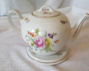 Vintage Antique Diadem 1.5PT china large floral tea pot and stand