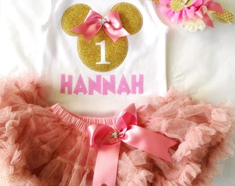 Minnie Mouse Theme First Birthday Party Outfit 1st Birthday Baby Girl