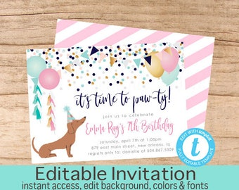Puppy Dog Birthday Invitation, Time to paw-ty Invitation, Girl Dog Invite, EDITABLE Birthday Template, Dachshund, Templett, Instant Download