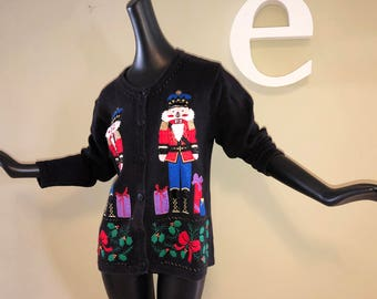 Ugly Christmas Sweater Nutcracker Nut Cracker Kellyanne Conway Outfit Costume Vintage 90s Applique Beaded Design Bobbie Brooks Small Medium