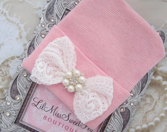 Hospital Take Home Hat in Pink with a Delicate Lace Bow and Pearls, girl beenie, pearls and lace, hat, shower gift, Lil Miss Sweet Pea