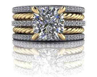 Diamond Engagement Ring - Diamond Wedding Bands - Moissanite Ring - Insieme™ Bridal Stackables
