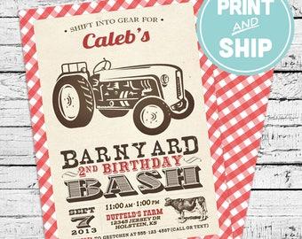 Printed Farm Tractor Birthday Invitations and Envelopes - Print and Ship Invitations