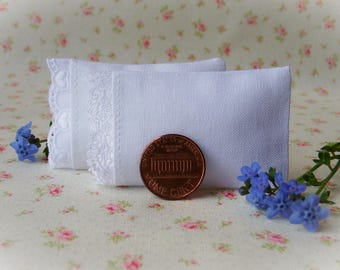 Dollhouse Pillows,  Miniature Pillows Set of 2 Assorted White Pillows, 1 of each design - 1:12 scale, One Inch Scale