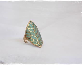 Brass Leaf Ring, Vintage Leaf Ring, Woodland Brass Ring, Turquoise Leaf Ring, Tribal Brass Ring,Large Brass Ring, Statement Leaf Ring