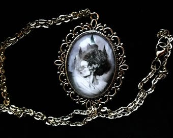 The Bride of Frankenstein Castle Necklace - Original Graphite Portrait