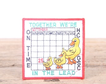 Vintage Girl Scout Patch / 1989 Together We're In The Lead - On Time HC GSC Duck Patch / Girl Scouts Patch / Boy Scout Patch