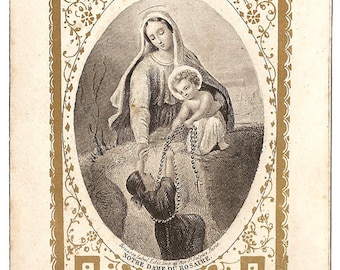 Virgin Mary Our Lady of the Rosary & Baby Jesus Engraving Antique French Holy Prayer Card, Gold Border, Catholic Ephemera, Blessed Mother
